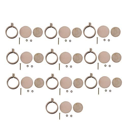 P Prettyia 10x Mini runde Stickrahmen Holzrahmen Hand Stickerei Stitching Hoop Rahmen DIY Anhänger Handwerk (Umfasst Anhänger-reifen)