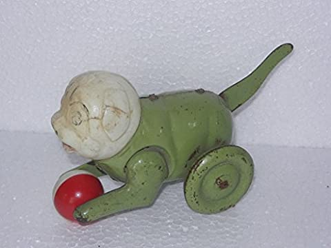 Vintage Monkey Playing Ball Mechanical Litho Tin Toy