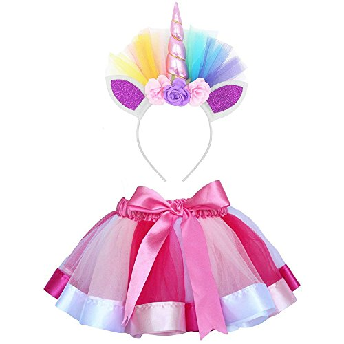Vestito Unicorno Bambina Vovotrade Tutu Bambina Rainbow Ribbon Tutu Gonna per Bambine Costume da Balletto Foto con Unicorn Flower Fascia per Little Pony Dress Up Fun
