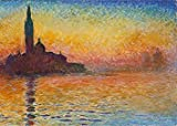 wieco Kunst–Dusk in Venice von Claude Monet Öl Gemälde Reproduktion Moderne Giclée-Kunstdruck auf Leinwand Landschaft Bilder Artwork Gemälde auf Leinwand Art Wand für Home Office Dekorationen mon0115–3040