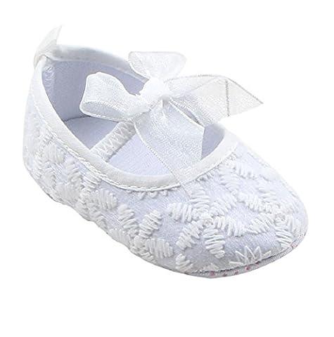 Auxma Baby-Schuhe Für 0-18 Monate Baby Mädchen Soft Sole Crib Schuhe Sneaker Baby Schuhe (12cm(6-12M), Weiß)