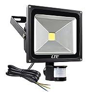LTE 30W Lumière capteur de mouvement, capteur PIR imperméable à l'eau, lumières LED de sécurité, 6000K, 2250 Lumen, durée d'éclairage réglable et sensibilité pour intérieur et extérieur