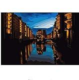 LIWEIXKY Rahmenlos Hamburg City Nachtansicht Landschaftsmalerei Färbung nach Zahlen Digital handgemalte Leinwand Gemälde für Wohnkultur 40x50cm