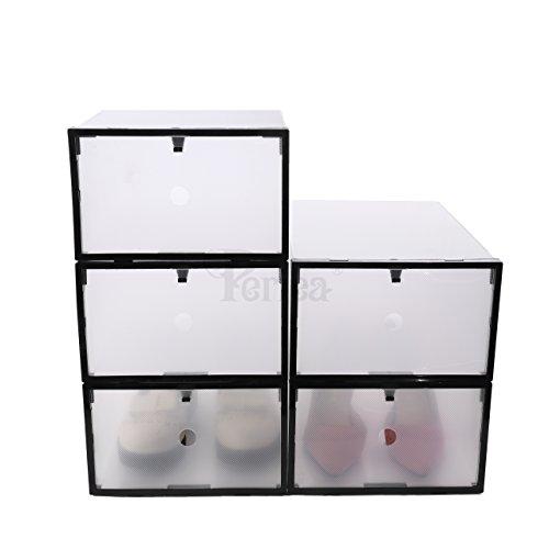 Periea Öffnung vorne Kunststoff Schuh Boxen 2Größen, Unterbettkommode, transparent/schwarz (10Stück Damen) Lacy