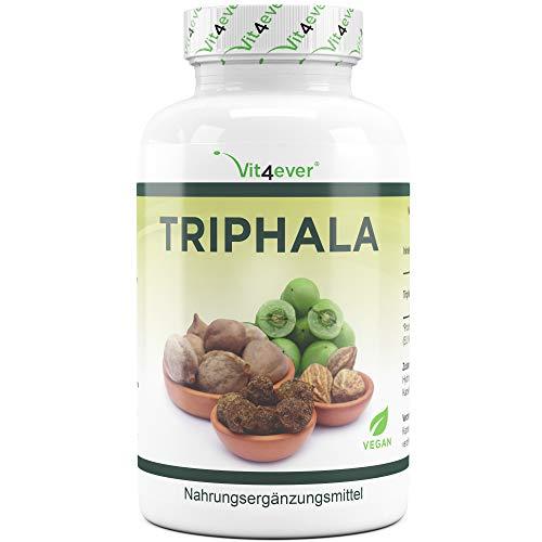 Triphala 240 Kapseln - 750 mg pro Kapsel - 4 Monatsvorrat - Hochdosiert - 100% vegan - Triphala Pulver aus Haritaki, Amalaki & Bibhitaki - Ayurveda Dreifrucht - Premium Qualität