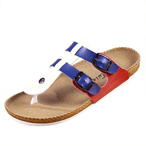 Unisex Adulto Sandali Sughero - Pantofole Eleganti - Ciabatte Comodi Blu Rosso