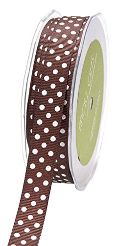 May Arts Band 5/20,3 cm Dots Grosgrain, braun/weiß gepunktet, 30 Yd (Ribbon-grosgrain 3 8)