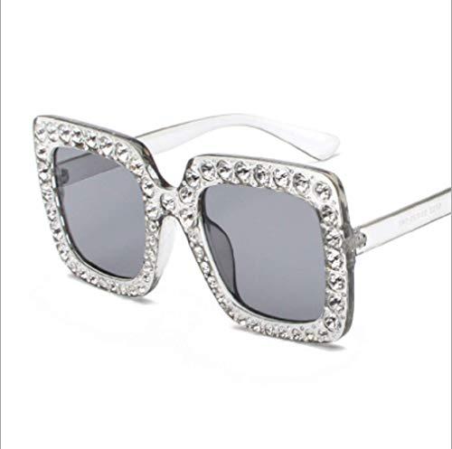 GengGeng GENG Women es Square Large Frame Full Diamond Sunglasses Faces Small Glasses Wind Diamond Sunglasses,3