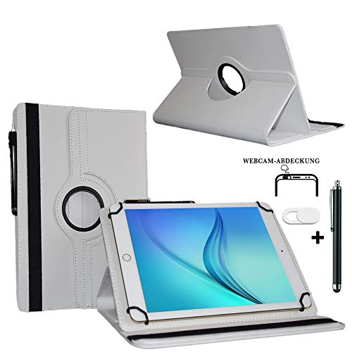 Tablet Schutzhülle 10.1 Zoll für MEDION LIFETAB S10346 Hülle Etui Case mit Touch Pen und Webcam-Abdeckung- Weiß 3in1