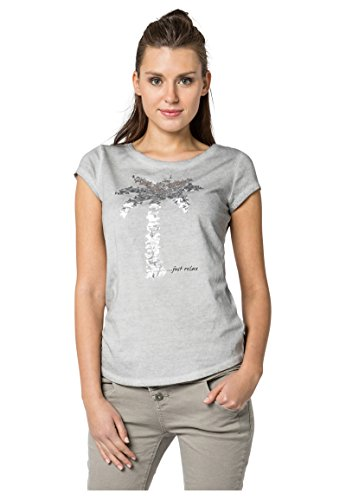 Grüne Damen Light T-shirt (Fresh Made Damen T-Shirt mit Pailletten-Palme | Bequemes Basic Shirt in Grau, Grün & Orange Aus Reiner Baumwolle Light-Grey XL)