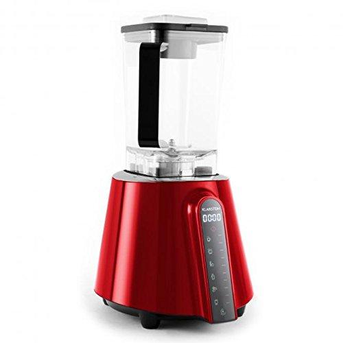 Klarstein Herakles Red Touch Prof. Power Standmixer Smoothie Mixer Küchenmixer mit Touchpad Bedienung (1680W / 2PS, BPA frei, 6 Automatik-Programme, 2 Liter Mixer, 10 Geschwindigkeiten, 32.000 U pro Min, HCS Edelstahl Klingen) rot (Obst-entsafter-wasser-flasche)