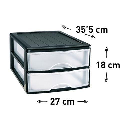 Unbekannt Box Speicher 2Schubladen Transparent Kunststoff Organisatoren der Dokumentation Wrap Aufbewahrung in Schwarz 03 (Kunststoff-speicher-organisatoren)