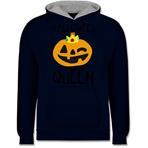 Shirtracer Anlässe Kinder - Halloween Queen Kostüm - 9-11 Jahre (140) - Navy Blau/Grau meliert - JH003K - Kinder Kontrast ()