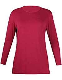 Womens New Plain Long Sleeve Casual Top Ladies Basic Stretch Fit Crew Neck Everyday T-Shirt Tops Plus Size