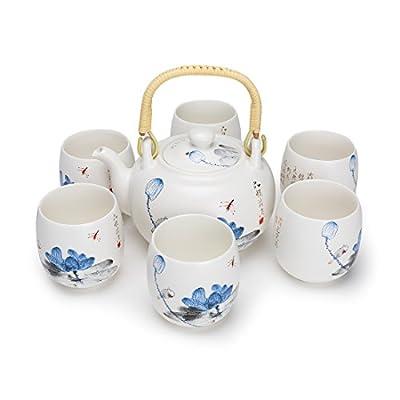 PEHOST la Chinoise Vintage Porcelaine Handmade Kung - fu thé mis en Service à thé avec théière, Tasses 7-Pack