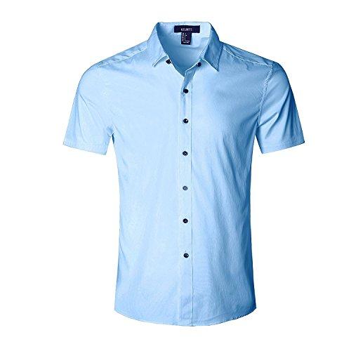 Nutexrol Herren Kurzarm Hemd für Business Hochzeit Freizeit Einfarbig Bügelfrei Blau 3XL