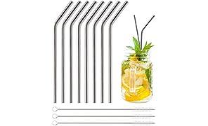 Pentaton Trinkhalme aus Edelstahl, 8 Wiederverwendbare Strohhalme, 3 Reinigungsbürsten, Metallstrohhalme, Länge 21,5cm, Farbe Silber