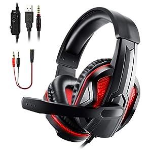 Diswoe Gaming Headset für PS4 PC Xbox One, 3.5mm LED Rauschunterdrückung Gaming Kopfhörer mit Mikrofon, Bass Surround, Over-Ear Kopfhörer mit Lautstärkeregelung für PS4 Xbox One PC Laptop Smart Phone