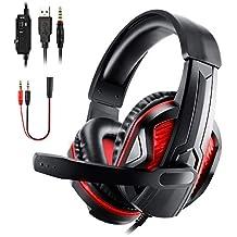 Diswoe Casque Gaming pour PS4 Xbox One PC, LED Casque Gamer Super-Légère avec Micro Anti-Bruit Réglable et Stéréo Basse, 3.5mm Over-Ear Compatible Mac/Nintendo Switch/Ordinateur/Laptop/Smartephone