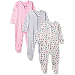 Mothercare Baby Girls' Craft 3 Pack Sleepsuit Pink, Newborn (Size: 50)