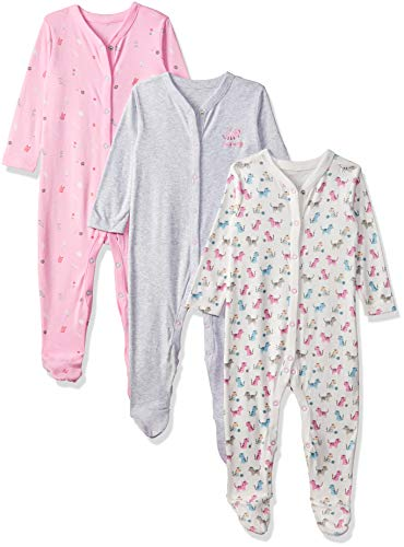 Mothercare Mothercare Baby-Madchen Schlafstrampler Craft 3 Pack Sleepsuit,Rosa,1-3 m