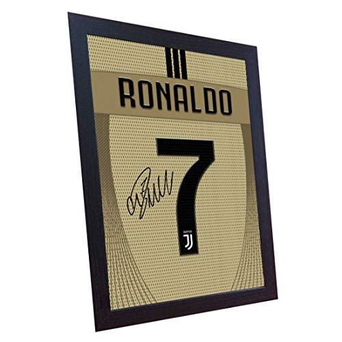 SGH SERVICES New Cristiano Ronaldo Juventus Auswärts-T-Shirt, mit Autogramm, gerahmt, 100% Baumwolle -