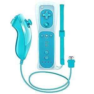 Wetoph Wii Controller und Wii Nunchuk Wii Remote und Wii Nunchuk Wii Fernbedienung Kompatibel mit Wii/Wii U NK02 (Dritteranbietern-Produkt) – Hellblau