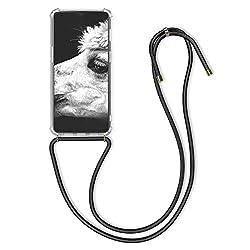 kwmobile OnePlus 7 (2019) Hülle - mit Kordel zum Umhängen - Silikon Handy Schutzhülle - Transparent Schwarz