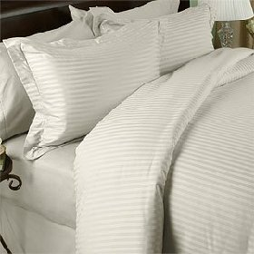 Ägyptische Betten 1000-thread-count Ägyptische Baumwolle Set-Bettlaken-Set, Elfenbeinfarben, Queen Damast Streifen 1000TC (Damast Bett-set Königin)