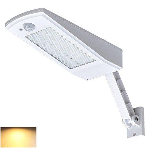 Felicon 48LED Solarleuchte Wandleuchte, PIR Motion Sensor Wasserdicht 4 Modi Notlicht Outdoor Beleuchtung für Garten Terrasse Hof Einfahrt Treppen Aussen Wand, weiß, 4000K Warm Light -