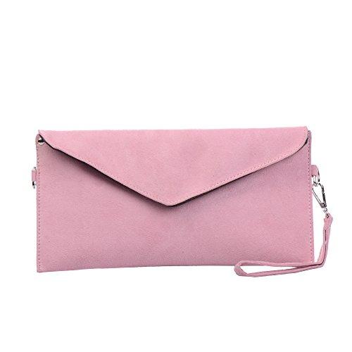 Tedim Damen PU Wildleder Hochzeit Envelope Clutch (pink) -