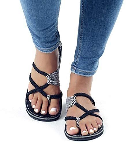 AARDIMI Sandalen Damen Frauen Flip Flops Kreuzband Geflochtene Sandalen Roman Schuhe Sommer Woven Strap Mode Strand Hausschuhe Flacher Anti Rutsch (37 EU, Schwarz) -