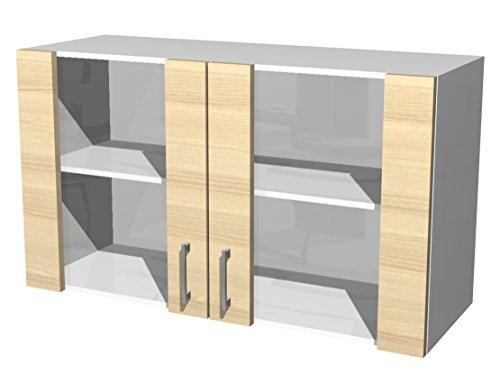 Flex-Well 00007108 Glas-Oberschrank Akazia Akazie, weiß 100 x 54,8 x 32 cm