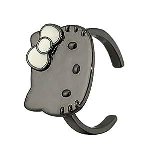 Hello Kitty - HK99001 - Bague Fille - Laiton plaqué Noir et Blanc