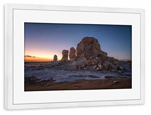 Wüste Umrahmt (artboxONE Poster mit Rahmen weiß 45x30 cm
