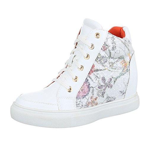 Ital-Design - Pantofole a Stivaletto Donna Bianco/Multicolore