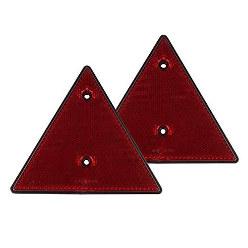 2er Set Reflektor Dreieck, Dreieckreflektor, Rückstrahler, rot, 15 cm Durchmesser, Anhängerbeleuchtung, Anhängersicherung