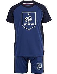 Maillot + short FFF - Collection officielle Equipe de France de Football - Taille enfant garçon