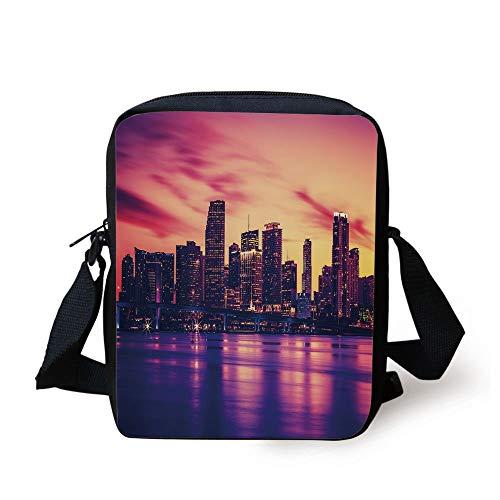 United States,View of Miami at Sunset Building Urban Modern City Life Ocean Skyline,Purple Pink Peach Print Kids Crossbody Messenger Bag Purse - Miami Peach