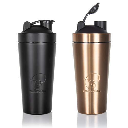 mantrafant Guru Blender PRO | Edelstahl Shaker Trinkflasche | Protein-Shaker mit integriertem Blender | BPA-frei | nachhaltig hergestellt | Metall Eiweiß Shaker | Proteinshake | Fitness | Gym | Sport