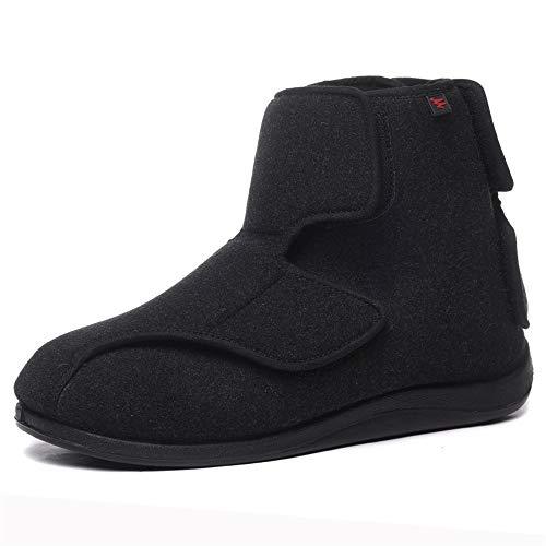 Willsky Zapatos diabéticos para Hombres, Espuma viscoelástica Zapatillas para ensanchar Velcro Ajustable Ayuda Alta Cómoda Artritis Edema Zapatos hinchados para la casa,43