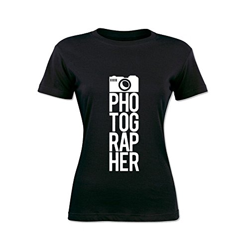T-Shirt Donna Bicolore Personalizzata Maglietta Femminile Originale Photographer Nero