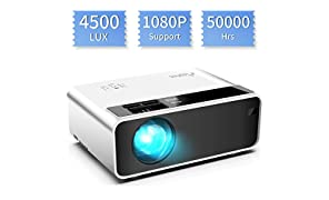 Mini Projector, ELEPHAS Video Projector 4500 lux with 50,000 hrs Long Life LED Portable Home Theater Projector 1080P Supported, Compatible with PS4, PC via HDMI, VGA, TF, AV, and USB Black (White)