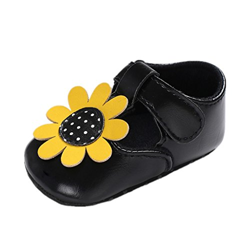 Auxma für 0-18 Monate, Baby Mädchen Schuhe, Baby Mädchen Prinzessin Blume PU Leder Weiche Sohle Schuhe, Lässige Schuhe, Erste Wanderschuhe, Krabbel Hausschuhe (12cm/6-12 M, Schwarz)