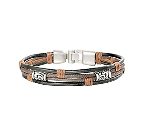 Braided Genuine Leather Bracelet For Men, Women - Black Silver Brown Personalized High Quality Vintage Wrist Band - Bangle Rope Braided Bracelet - Base Metal Alloy Type - Beyond