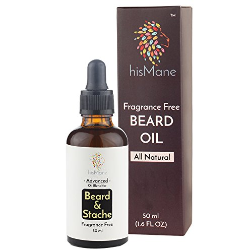 HisMane Beard & Mustache Oil 50ml with Moroccan Argan & Jojoba Oils| For Naturally Healthy Beard & Mustache | Fragrance Free