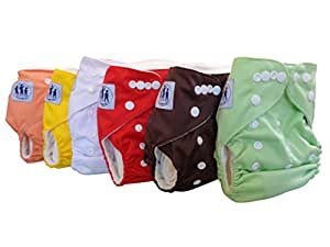 "Three Little Imps ""Bamboo Range"" Plain Colour Cloth Nappies (including 2 inserts per nappy) - Set of 6"