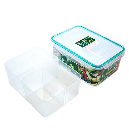 Luftdichter Fach Lebensmittel Container–auslaufsicher Lunch Bento Box mit Deckel und 3herausnehmbare Trennblätter, Geruch Proof, BPA-frei, Gefrierschrank Kühlschrank Mikrowelle Spülmaschinenfest, plastik, farblos, 2.3L (Snap-lock-kunststoff-behälter)