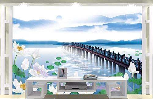 LWATML 3D Tapeten Fototapete Für Wandbilder 3D Room Wallpaper Lotus Flower Lake Wohnkultur Gemälde Bild 3D Wall Murals Wallpaper For Walls 3 D-400X280Cm (Lotus Flower-bild)