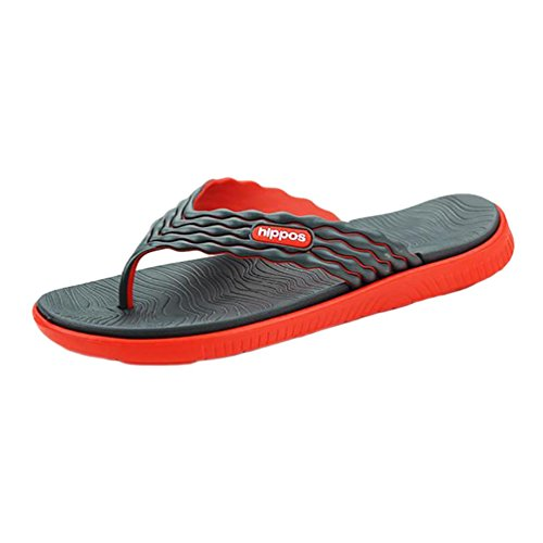 YOUJIA Herren Sandale Mode Flip Flops Sandalen Freizeit Zehentrenner Für Den Strand Schwarz Rot